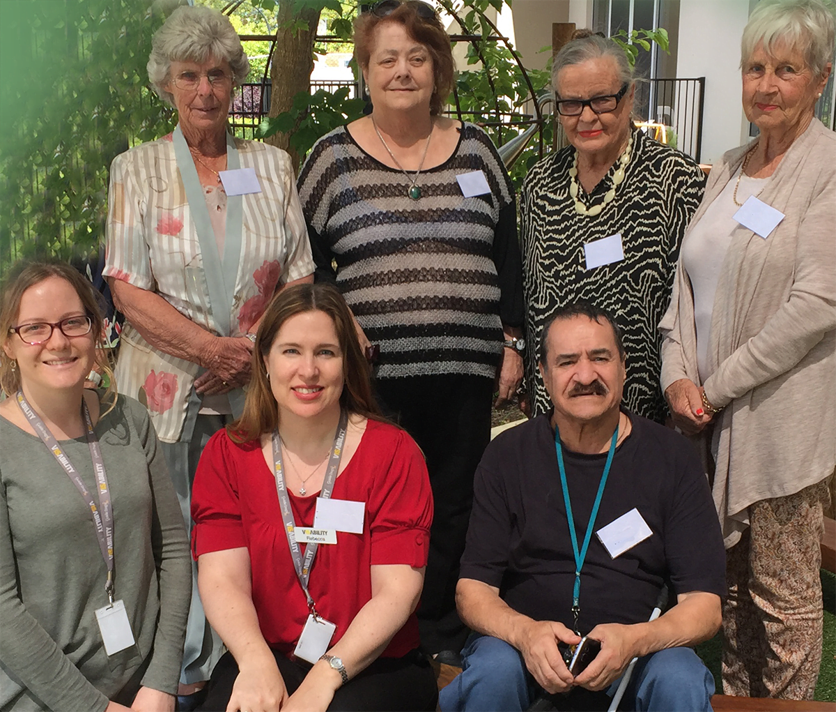 VisAbility's Occupational Therapists with five of the members of the Living Well Group