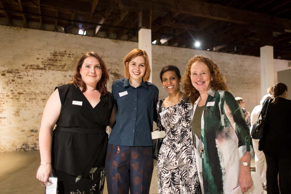Caris Parry, Kate Shelton, Vithya Vijayakumare and Leone Carrol pose for a photo at the Opening Afternoon