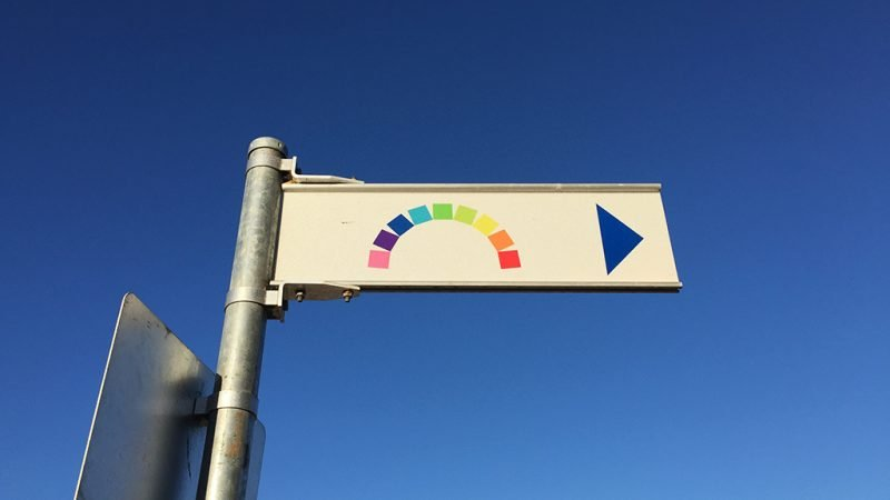 Sign pointing to the rainbow shipping container artwork in Fremantle. This is an example of a visual cue