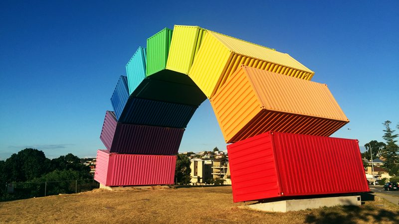 Rainbow shipping container artwork in Fremantle