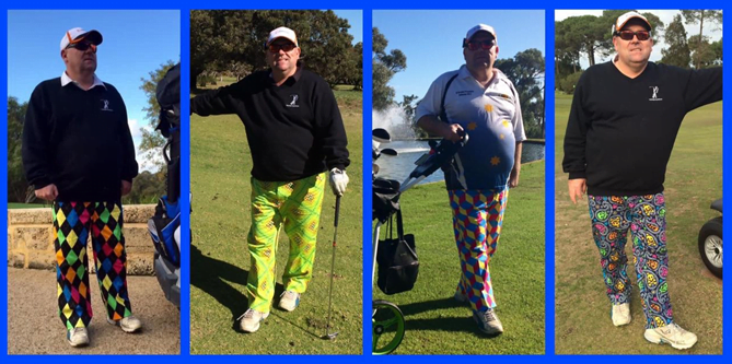 David in four different golfing poses wearing various brightly coloured golfing trousers