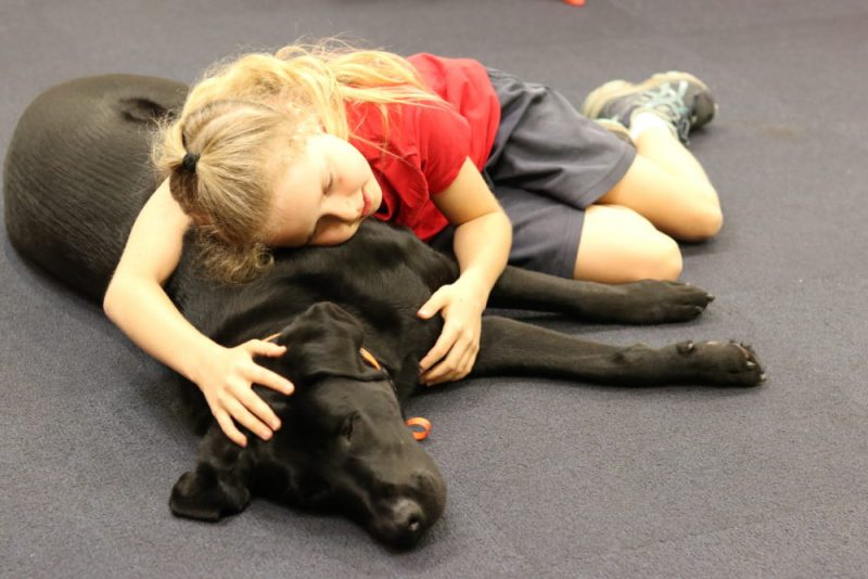 Tahnee lies alongside therapy dog Bazza