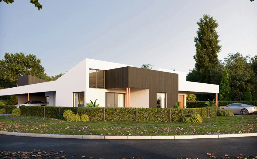 Image shows an artist impression of the house, single story with a sleek modern look.