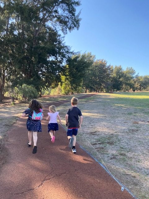 Backs of three children walking away into a forested area.