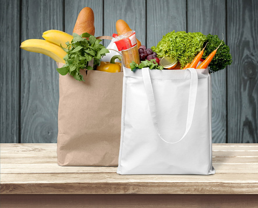 Grocery bags full of fresh fruit and vegetables