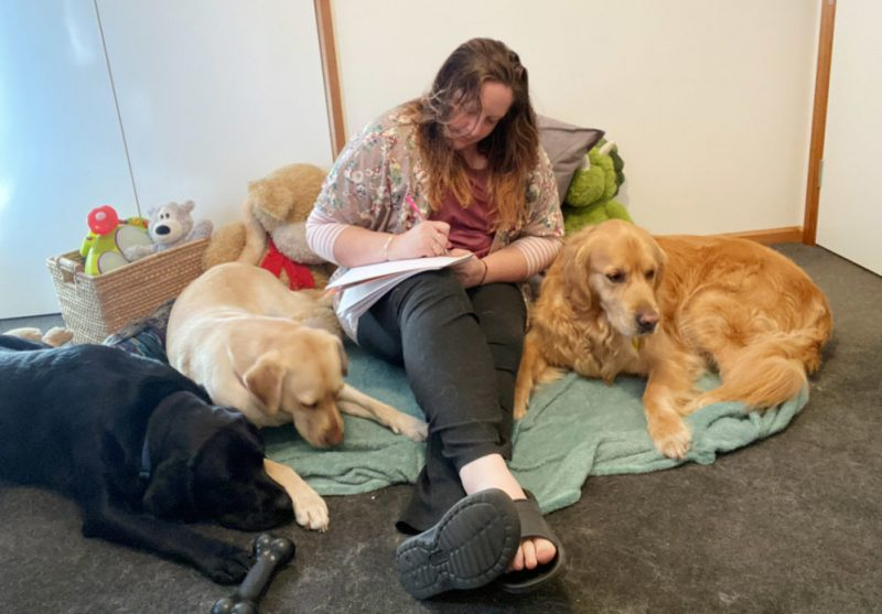 Kim Ryan sits on carpet surrounded by three Guide dogs.