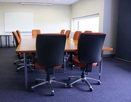 Board Room table and chairs in an empty conference room