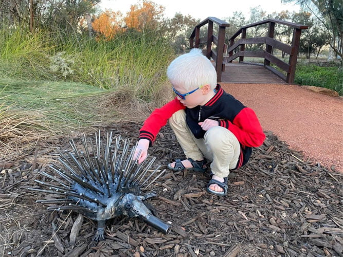 Louis touches a spikey hedgehog ornament in a public garden