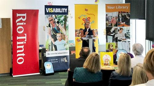 Debbie Schaffer OAM speaking at the launch event
