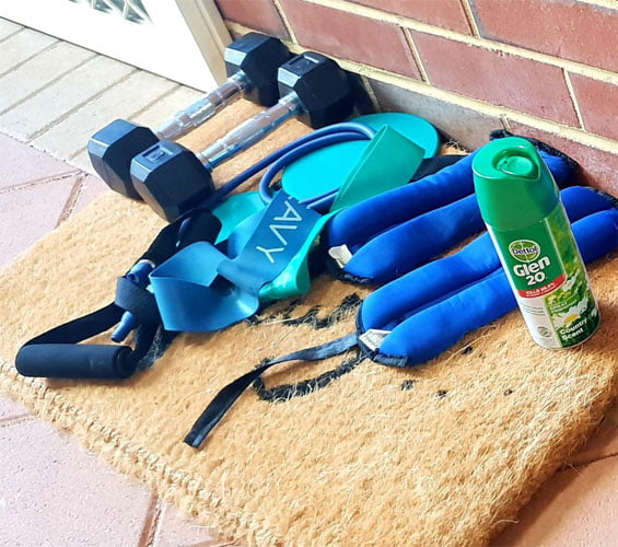Exercise equipment is sanitised and dropped at peoples' houses