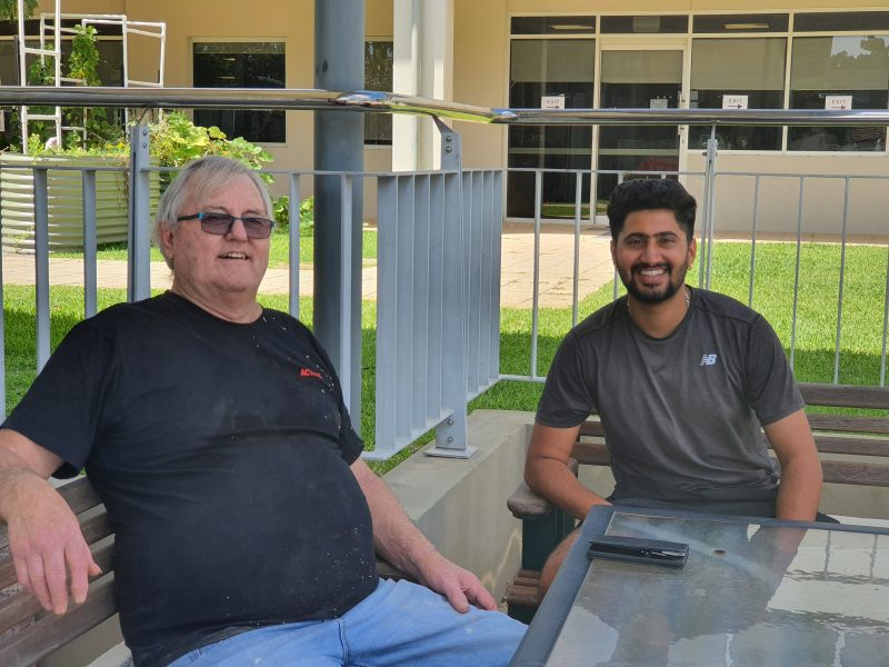 Alan and Rohit enjoy some time out from their volunteering