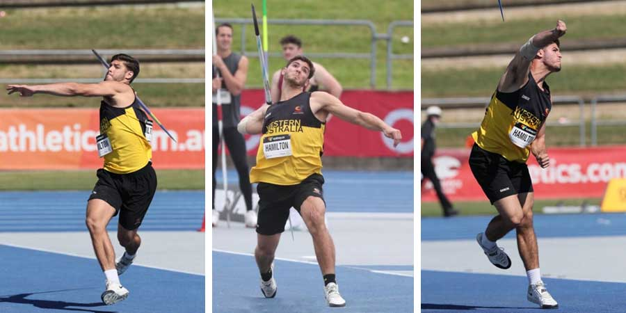 Montage of Jackson throwing the javelin