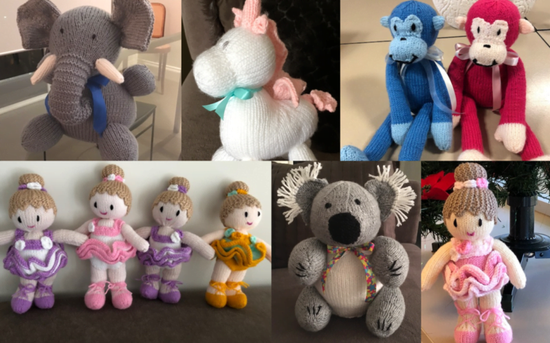 Montage of knitted soft toys from left to right clockwise, elephant, unicorn, two monkeys, four ballerinas, koala and solo ballerina